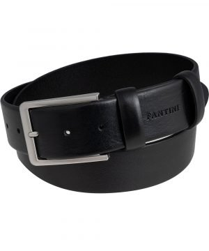 Cintura pelle uomo larga nera Fantini fibbia quadrata Made in Italy passante in pelle regolabile