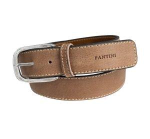 Cintura pelle Fantini uomo marrone fibbia grande pelle morbida Made in Italy