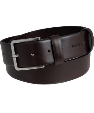 Cintura pelle uomo Fantini larga marrone scuro fibbia quadrata Made in Italy passante in pelle regolabile