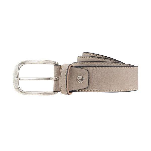 Cintura pelle uomo grigio chiaro fibbia quadrata pelle morbida Made in Italy