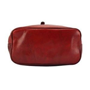 Fondo zaino rosso in cuoio vera pelle Made in Italy zaino resistente