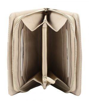 Compartimenti interni portafoglio donna pelle beige, portafoglio interno chiusura con cerniera, portamonete interno con cerniera