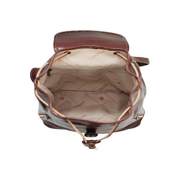 Interno compartimenti zaino pelle marrone donna tasche e cerniere interne zaino artigianale