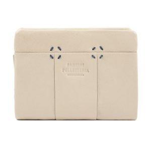 Portafoglio pelle donna piccolo beige, portafoglio artigianale Fantini Pelletteria fatto a mano.