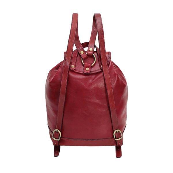Schienale zaino donna cuoio rosso vera pelle Firenze zaino donna artigianale fatto a mano in Italia