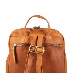 Retro zaino in vera pelle cognac marrone chiaro, bretelle regolabili in vera pelle di vitello morbida, zaino con tasca esterna posteriore