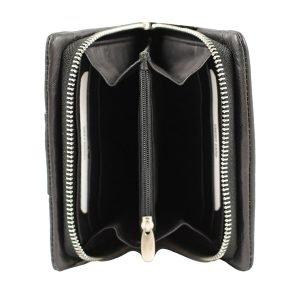 Compartimenti interni portafoglio donna pelle nero, portafoglio interno chiusura con cerniera, portamonete interno con cerniera
