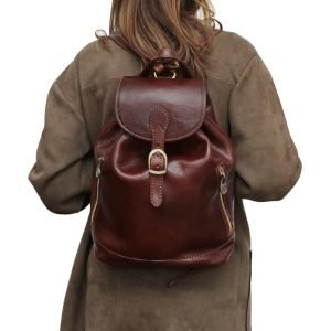 Zaino donna marrone cuoio fatto a mano vera pelle cerniere esterne zaino donna artigianale