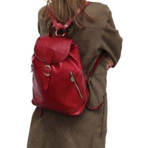 Zaino donna rosso cuoio artigianale vera pelle cerniere esterne zaino donna rubino