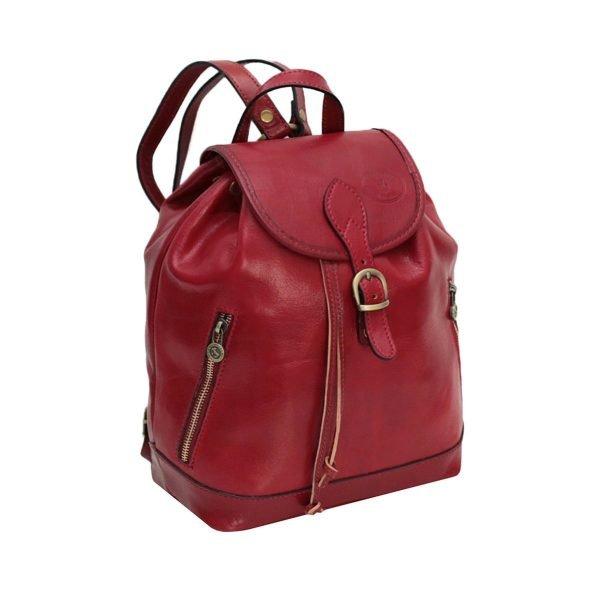 Zaino donna in pelle rosso vero cuoio Firenze Made in Italy cerniere e tasche esterne