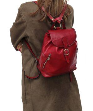 Zainetto donna rosso vera pelle cuoio Firenze apertura sicura zainetto artigianale fatto a mano in Italia