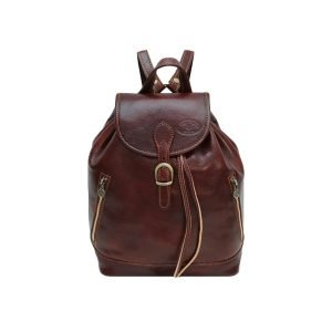 Zainetto in pelle ragazza vera pelle marrone cuoio Firenze Made in Italy tasche esterne