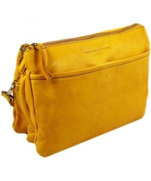 Borsa a tracolla gialla in pelle - Fantini pelletteria