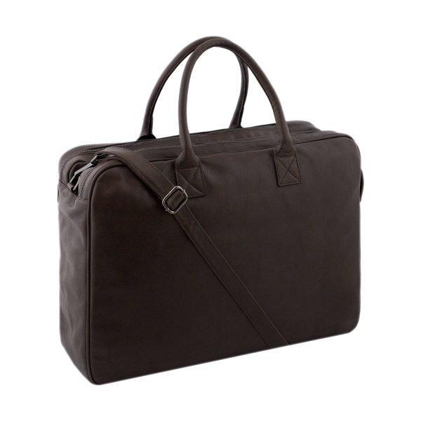 Cartella pelle lavoro Made in Italy marrone - Borsa lavoro con tracolla in pelle