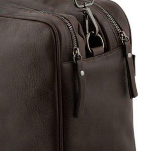 Borsa da lavoro con cerniera marrone - cartella in pelle artigianale cuoio con tracolla