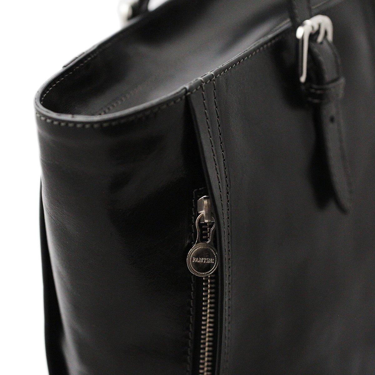 Shopping Bag Nera In Vera Pelle Fantini Pelletteria