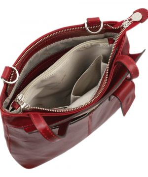 Borsa Zaino da donna in pelle rossa Made in Italy e artigianale.