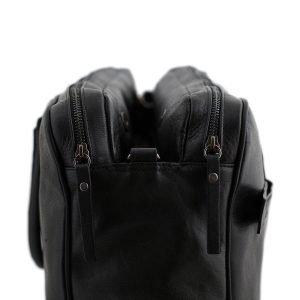Lato borsa in pelle nera - interno borsa in pelle nera - interno cartella lavoro