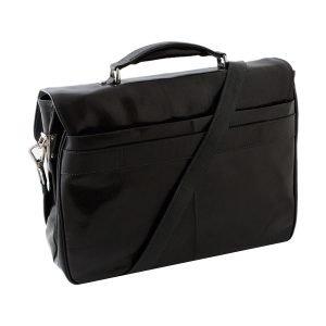 Borsa ventiquattrore con tracolla formato A4 nera - cartella pelle nera vera pelle tasca per valigia