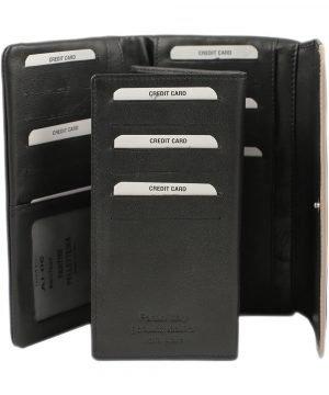 Portacarte donna - portafoglio in pelle - portafoglio nero donna