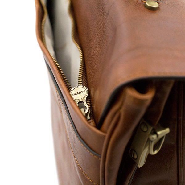 Compartimento esterno cartella lavoro in pelle cuoio Fantini - borsa cerniera esterna