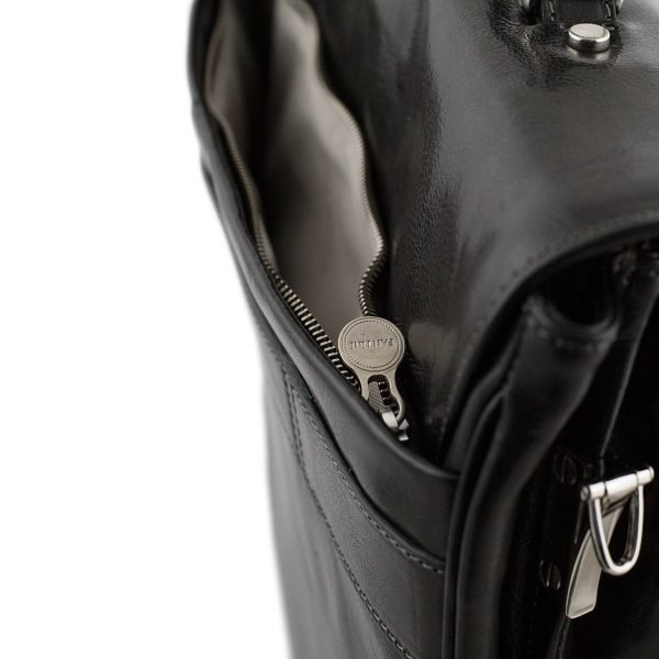 Compartimento esterno cartella lavoro in pelle nera Fantini - borsa cerniera esterna