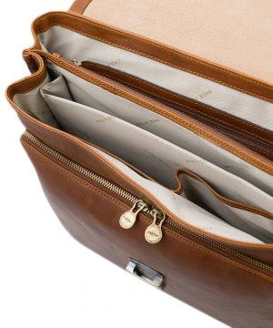 Compartimenti interni cartella lavoro in pelle cuoio - Borsa lavoro interno con cerniera Fantini