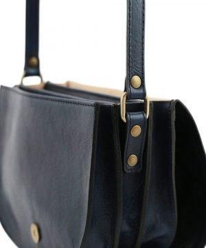 Borsa a tracolla blu - borsa in vera pelle artigianale - borsa a tracolla - borsetta tre compartimenti