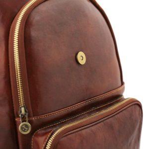 Zaino in cuoio marrone. Zaino da donna realizzato artigianalmente Made in Italy.