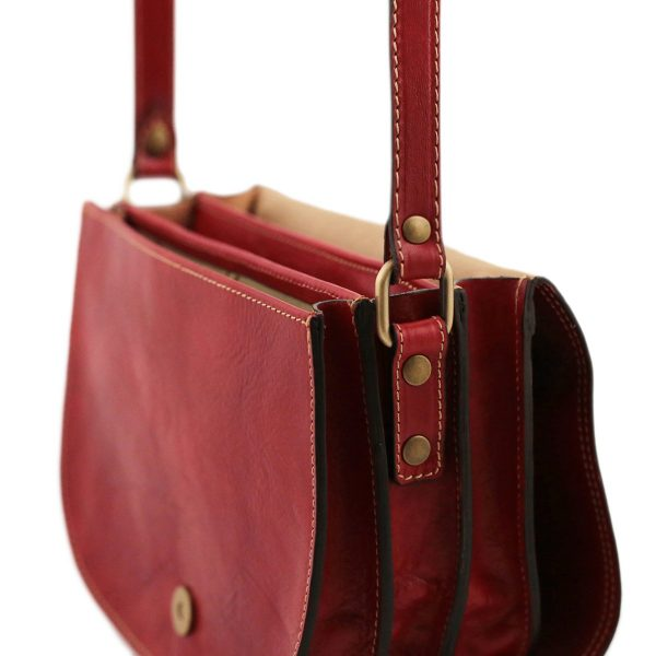 Borsa a tolfa rossa - borsa in pelle artigianale con tracolla - borsetta a tracolla artigianale