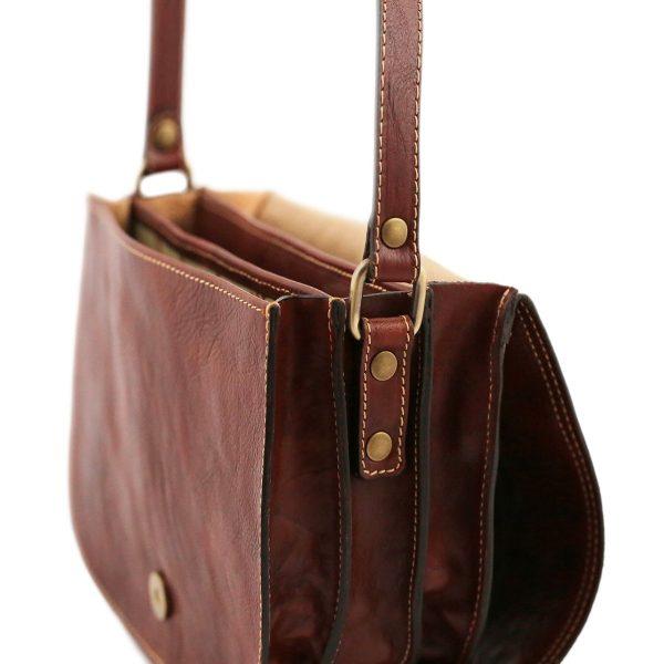 Borsa a tracolla - borsa con tre compartimenti - borsetta in pelle artigianale