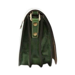 Borsa donna in cuoio verde. Borsa Made in Italy e artigianale.