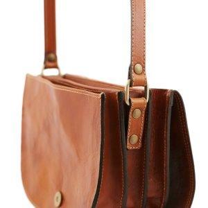 Borsa pelle con tre compartimenti - borsetta in cuoio artigianale - borsa in pelle marrone a tracolla