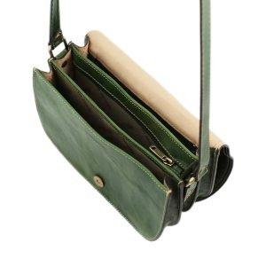 Borsa in vera pelle verde - borsetta a tracolla verde - borsa con tre compartimenti in cuoio