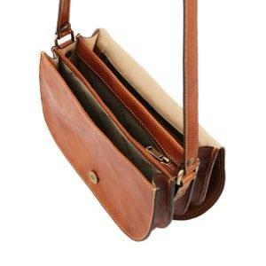Borsa in pelle artigianale - borsa con tre compartimenti - borsa donna in cuoio