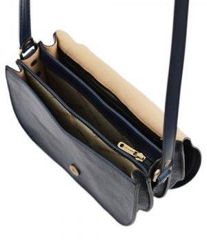 Borsetta con tre compartimenti - borsa blu a tracolla - borsetta in pelle blu