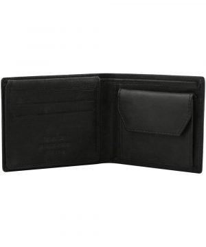 Portafoglio con portamonete in pelle nero