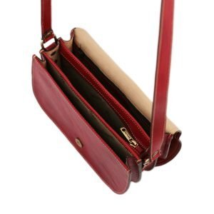 Borsetta a tracolla - borsa in pelle rossa - borsa tre compartimenti in pelle - borsa in cuoio rossa