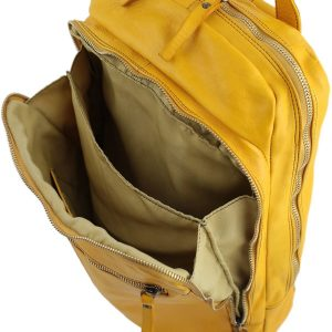 Zaino tasca per computer - zaino porta pc - zaino in pelle giallo - zaino donna senape