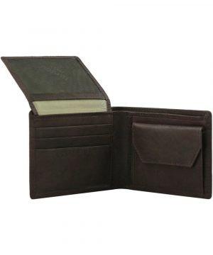 Portafoglio con portamonete - portafoglio in pelle marrone - portafoglio uomo pelle