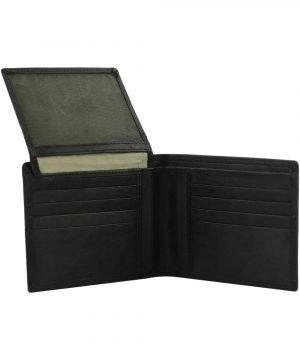 Portafoglio in pelle uomo - portafoglio senza portamonete - portafoglio pelle nero