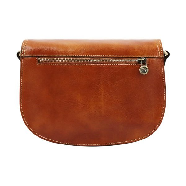 Borsa in pelle artigianale - borsetta in cuoio artigianale - borsa in cuoio con tasca esterna
