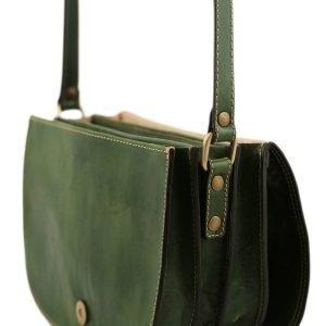 Borsetta con tre compartimenti - borsa in cuoio verde - borsetta verde - borsa a tracolla