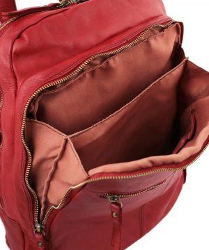 Zaino in pelle rosso - zaino in pelle artigianale - zaino donna rosso - zaino tasca esterna per pc