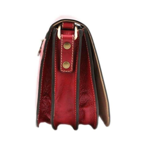 Borsa donna in cuoio rosso. Borsa Made in Italy e artigianale.