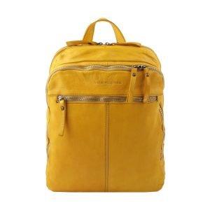 Zaino giallo pelle - zainetto in pelle - zainetto vintage - zaino giallo donna