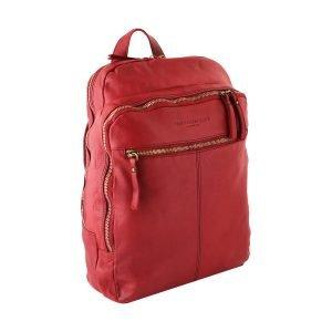 Zaino in pelle rosso - zaino pelle vintage - zainetto rosso - zaino donna rosso