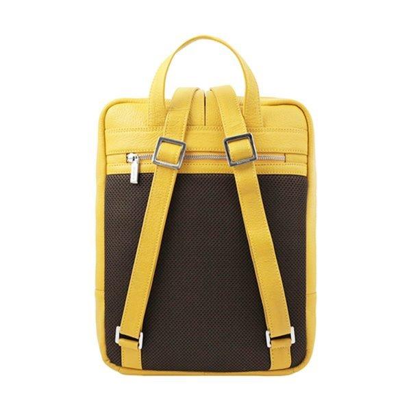 Zaino Fantini giallo in pelle artigianale e Made in Italy da donna.