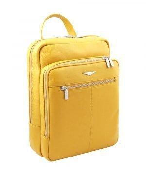 Zaino Fantini giallo in pelle artigianale e Made in Italy.