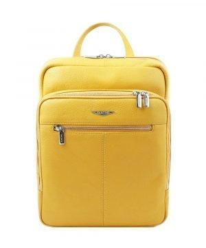 Zaino giallo in pelle artigianale e Made in Italy.